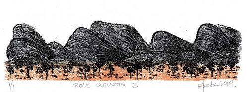 Rock Outcrops 2   Monoprint