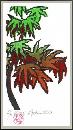 JAPANESE MAPLE Reduction lino print
