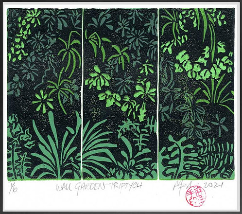 Garden Wall Triptych. Reduction Lino Print by John Martin
