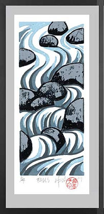 FALLS.  Lino print