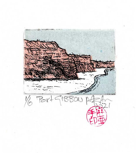 PORT GIBBON.   Etching and block print