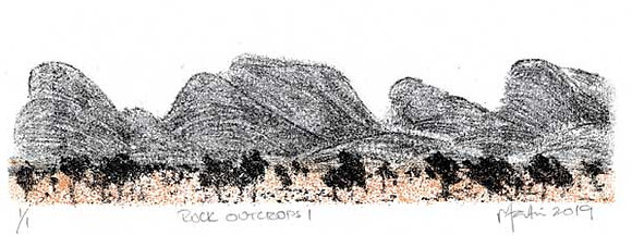 Rock Outcrops 1   Monoprint