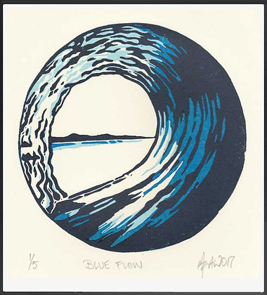 BLUE FLOW  Reduction lino print