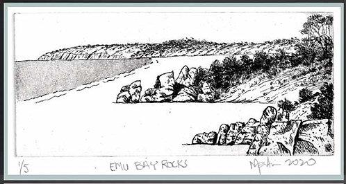 EMU BAY ROCKS.   Etching