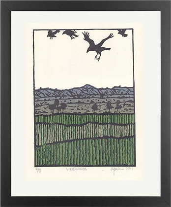 VINEYARDS. Lino print