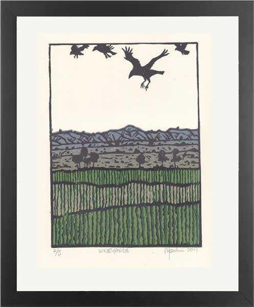 VINEYARDS. Lino print