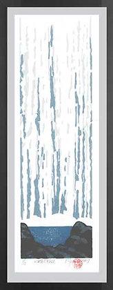 WATERFALL.  Lino print