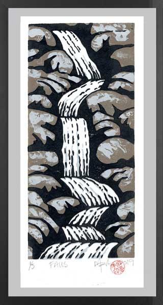 FALLS 2.  Lino print