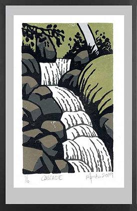 CASCADE. Lino print