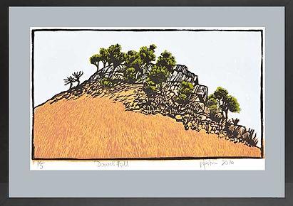 Block print, lino print, landscape