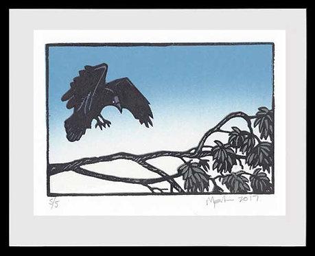 CROW LANDING. Lino print