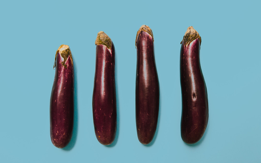 eggplants in a line