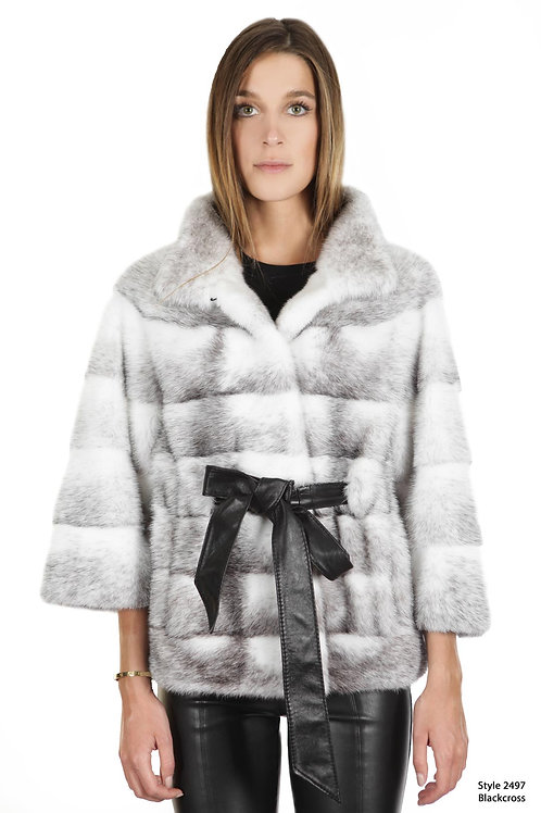 Short Mink jacket with Stand-up collar