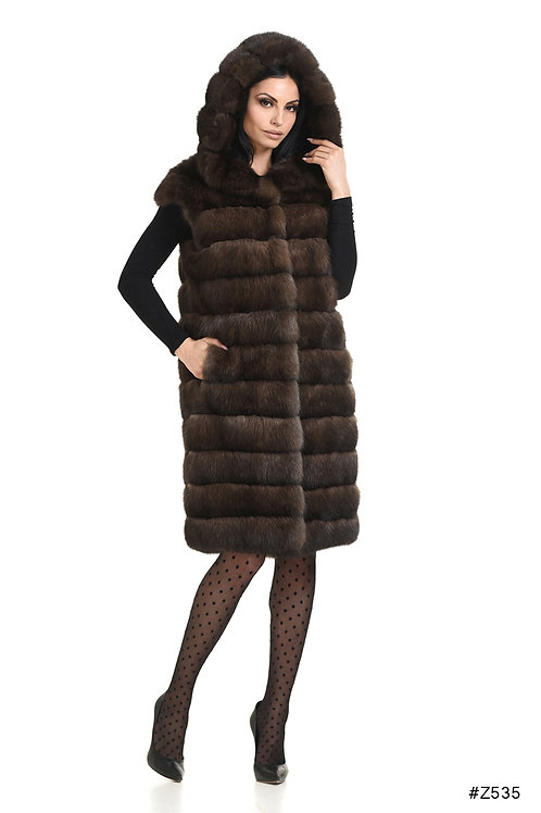 Sable long vest with hood