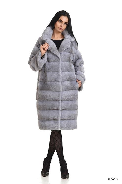 Basic mink coat with english collar