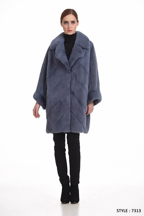 Mink jacket with asymmetrical sleeves