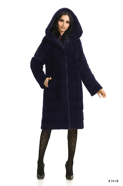 Basic hooded mink coat