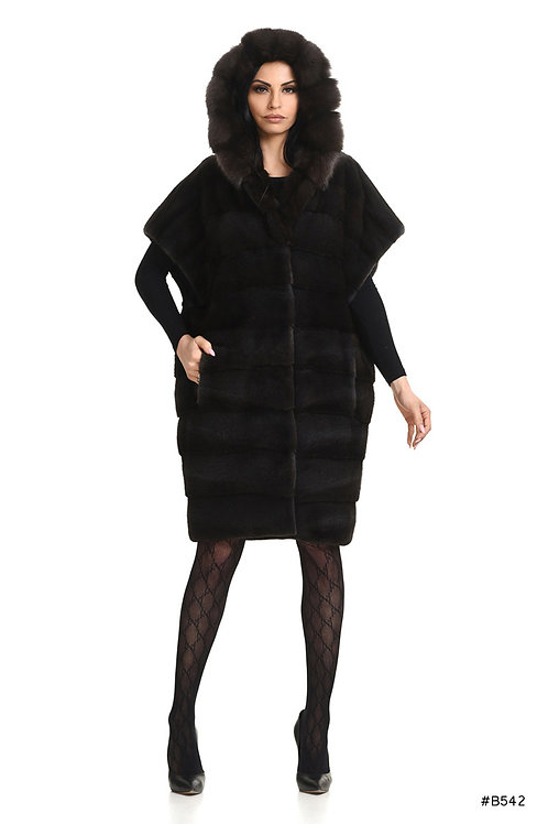 Oversized mink vest with sable hood