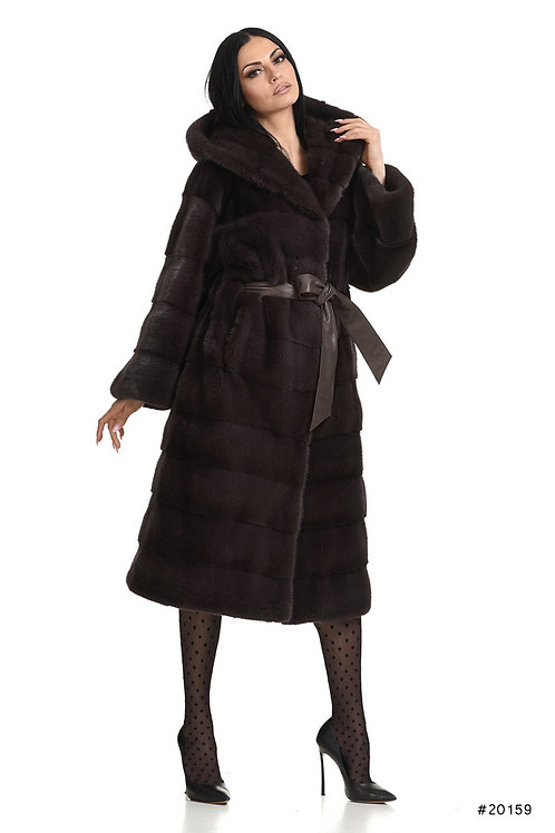 Hooded mink coat with leather belt inside the waist