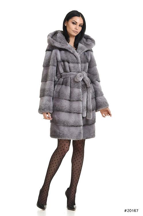 Hooded mink coat with belt