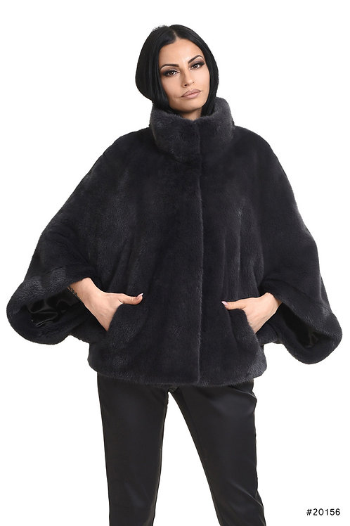 Mink cape jacket with stand up collar