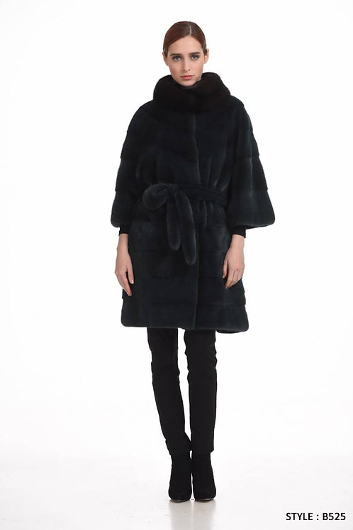 Mink coat with stand up collar in sable