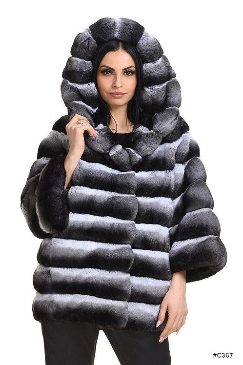 Hooded chinchilla jacket