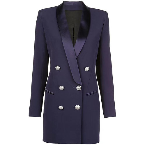 Blazer dress with gold buttons