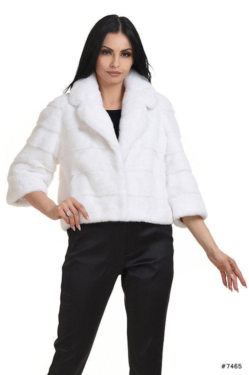 Short mink jacket with english collar