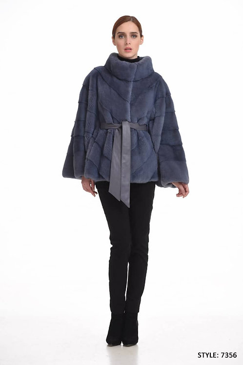 Oversized mink cape with inside leather belt