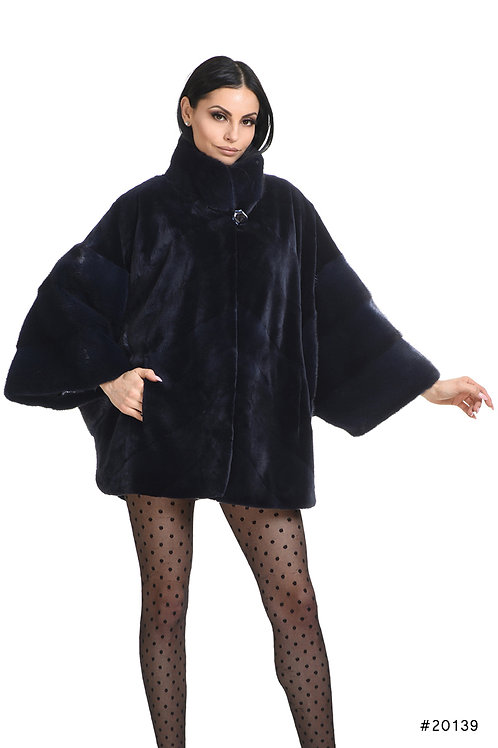 Oversize Mink jacket with stand up collar