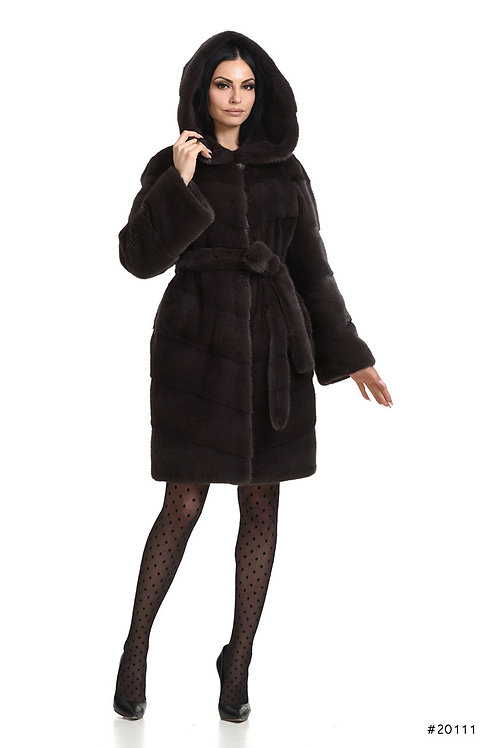 Hooded mink coat with belt
