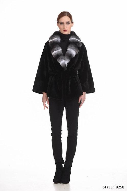 Sheared mink jacket with chinchilla collar