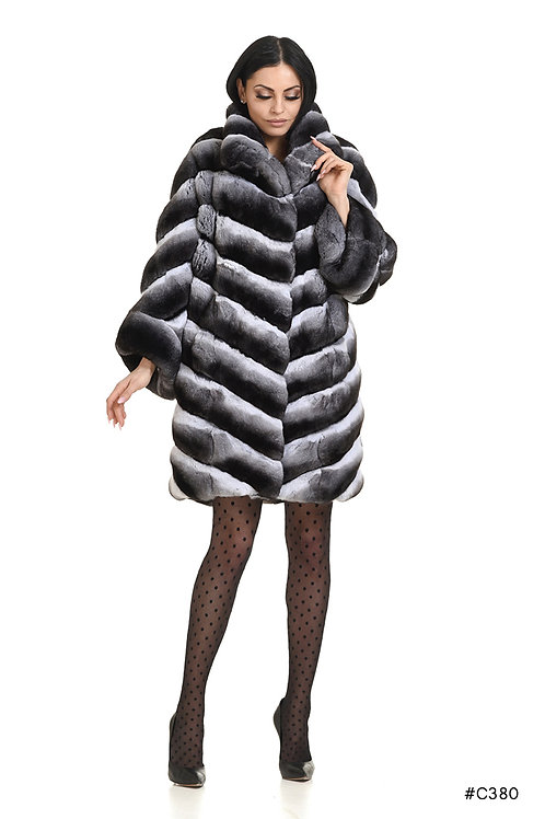 Chinchilla coat with asymmetrical sleeves