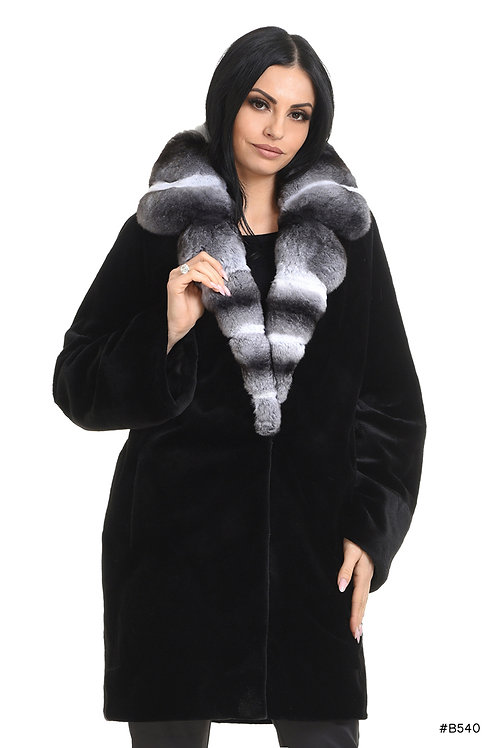 Sheared mink coat with chinchilla collar