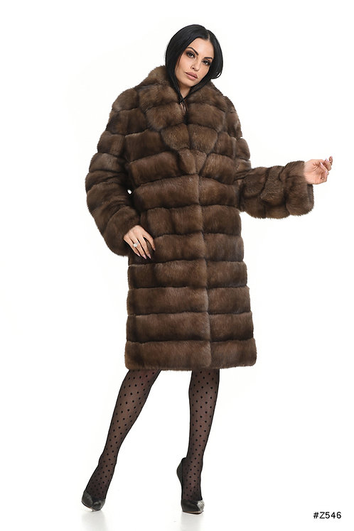 Sable coat with shawl collar