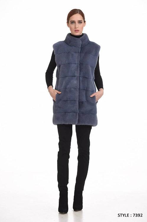 Short mink vest with standup collar