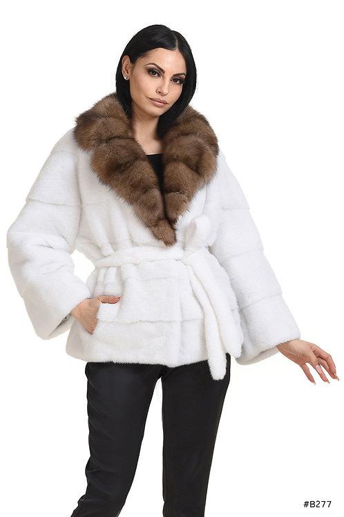 Mink jacket with sable collar
