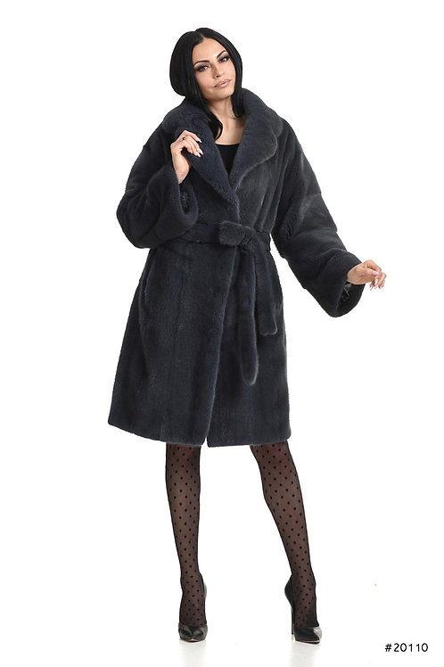 Mink coat with english collar and belt