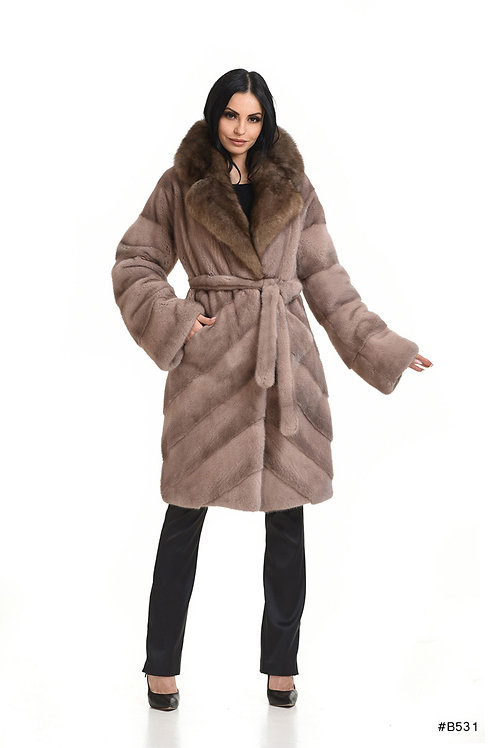 Diagonal mink coat with sable english collar