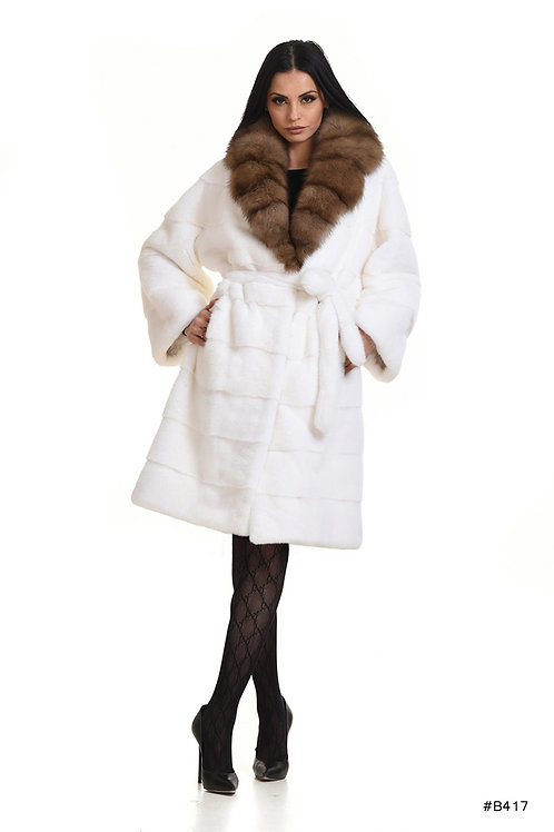 Chic mink coat with sable collar