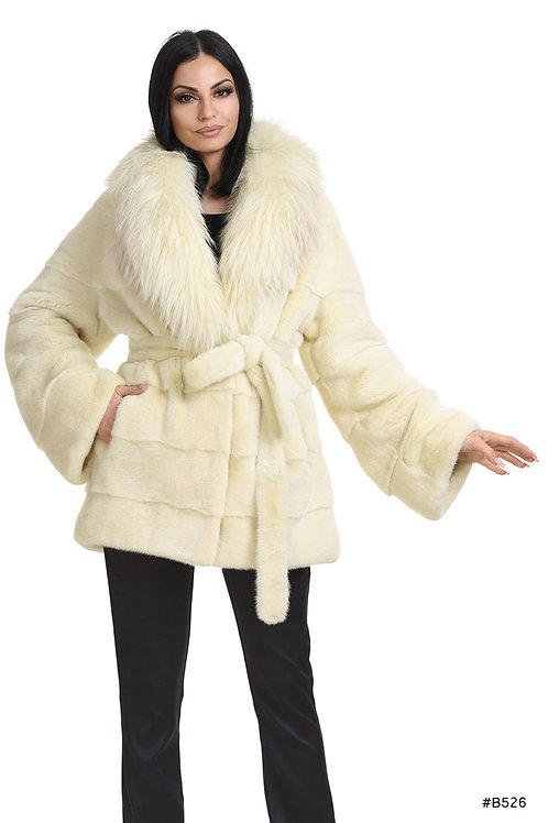 Glamorous mink jacket with fox collar