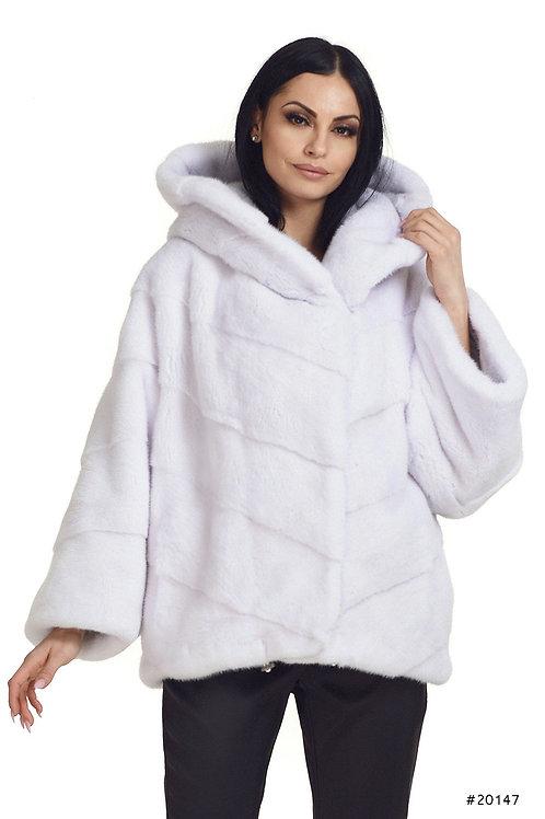 Oversized hooded mink jacket