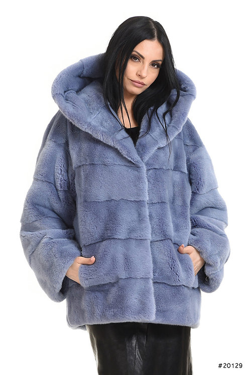 Cozy hooded mink jacket