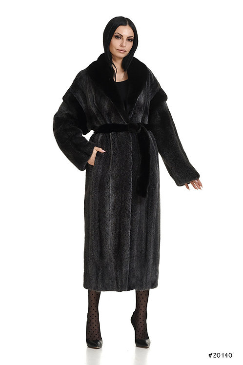 Sophisticated long mink coat with mettalic mink effect, special shoulders design
