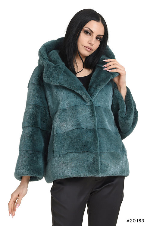 Cozy hooded mink jacket