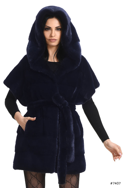 Hooded mink vest with short arms