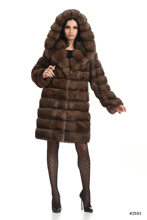 Hooded sable coat