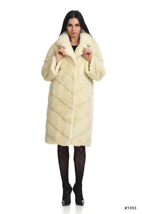 Basic mink coat diagonal worked