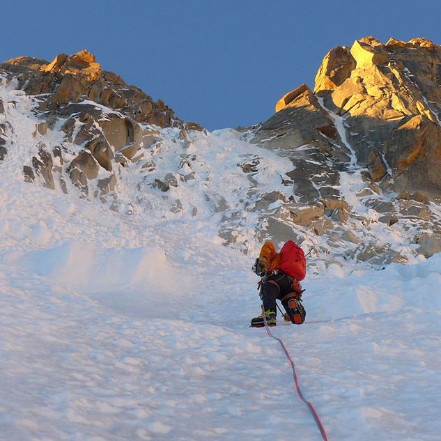 My friend Martijn Seuren climbs his way up a 4000 meter peak